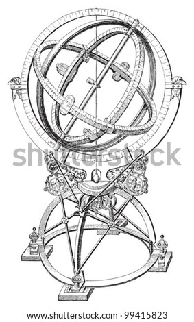 Armillary sphere / vintage illustration from Meyers Konversations-Lexikon 1897 - stock vector