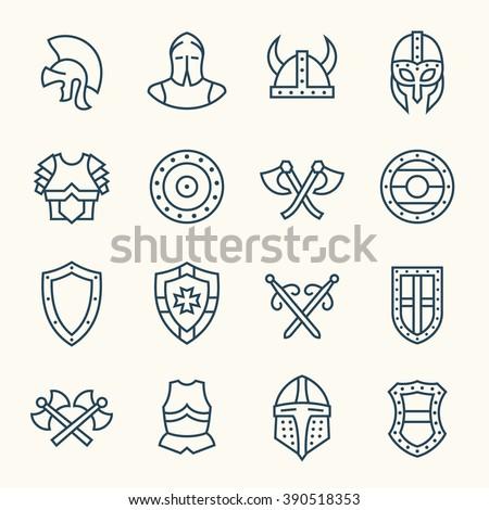 Armor line icons - stock vector