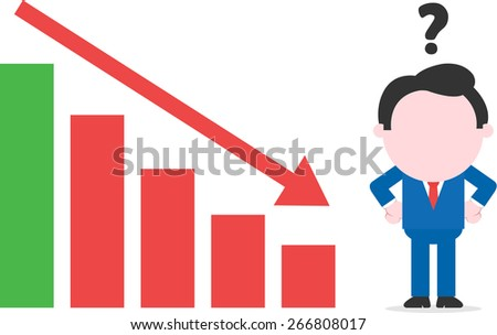 Arms akimbo faceless confused cartoon businessman standing beside declining bar chart - stock vector