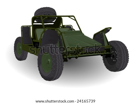 Army Dune Buggy Go-cart Vehicle on White - stock vector