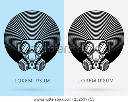 Army Gas Mask  with Afro hair, design using black line color, cycle line, circle line, logo, symbol, icon, graphic, vector. - stock vector