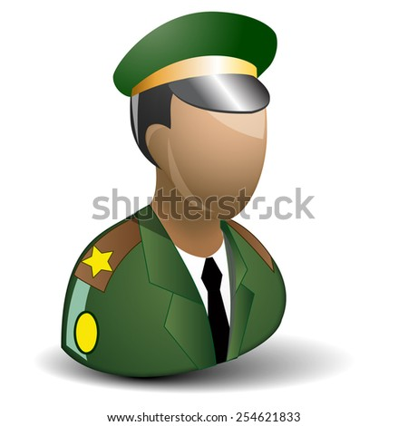 Army officer icon. Isolated on white background - stock vector