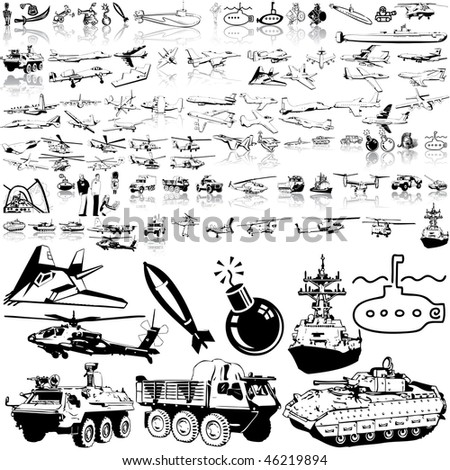 Army set of black sketch. Part 6. Isolated groups and layers. - stock vector