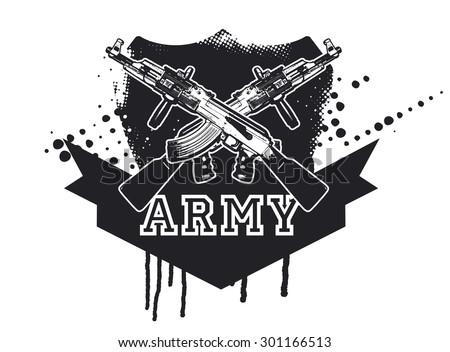 army shield with machine gun - stock vector