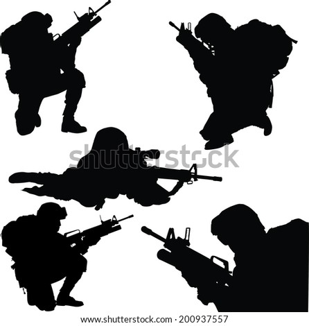 army soldiers with rifle silhouette vector collection. - stock vector