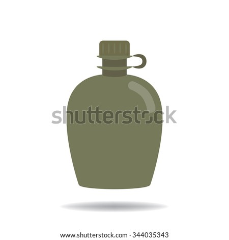 Army water canteen - stock vector