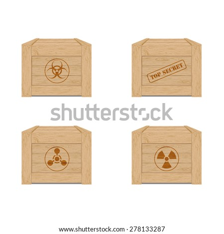 Army wooden box set - stock vector