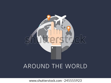 around the world concept flat icon - stock vector