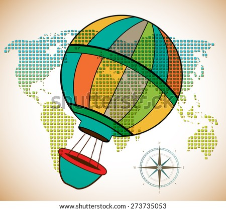Around the world hot air adventure  - stock vector