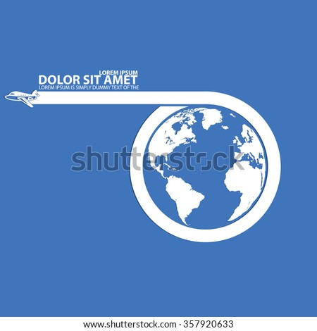 Around the world travelling by plane and blank stripe for add text in vector style - stock vector