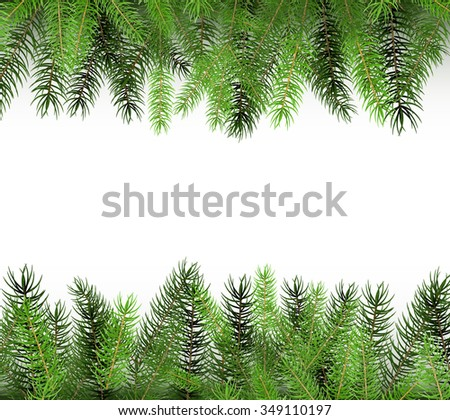 Arranged Green Fir Tree Branches - Fir Branch Illustration with Copy Space for Own Design. Greeting Card Christmas Background Template. - stock vector