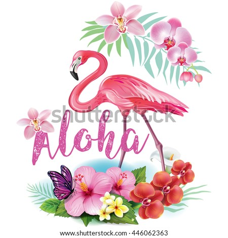 Arrangement from tropical flowers and Flamingoes - stock vector