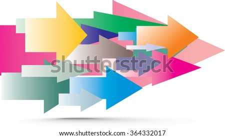 array of colorful arrow shapes showing right directions isolated on white. simple vector illustration using as background, direction signs, future vision concept or infographics - stock vector
