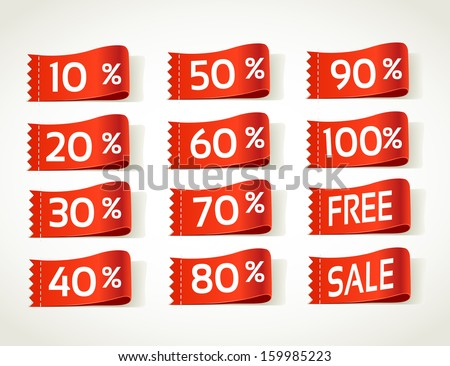 arrival label sale percents - stock vector