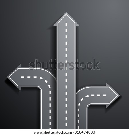 Arrow a road. Pointer direction. Stock vector illustration. - stock vector