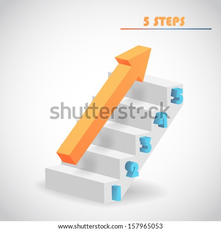 arrow and staircase 3d vector - stock vector