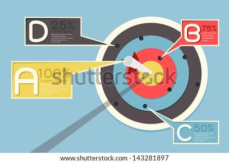 Arrow and target infographics design, vector - stock vector