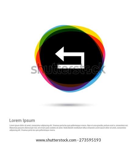 Arrow back undo previous left Refresh Icon, White pictogram icon creative circle Multicolor background. Vector illustration. Flat icon design style - stock vector