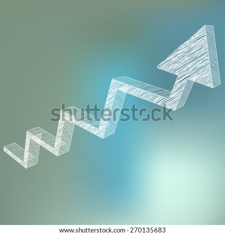 Arrow charts analysis 3d white scribble on blue bokeh background - stock vector