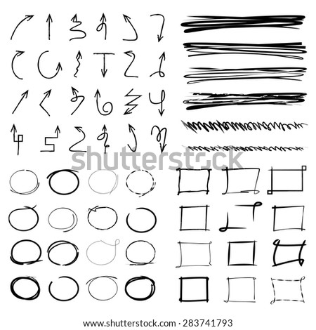 arrow, circle, underline, rectangular border, highlight and marker set - stock vector