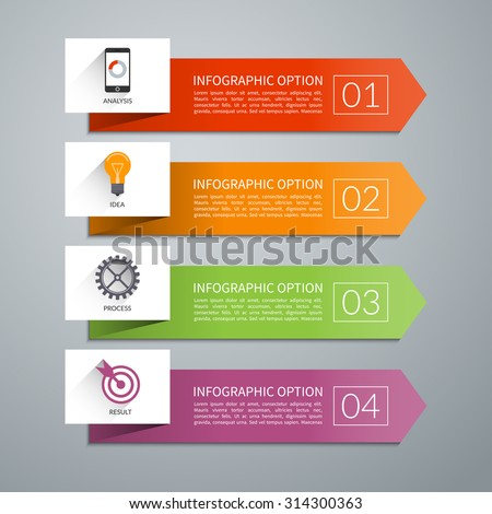 Arrow design elements for business infographics. Minimal colorful numbered banners for diagram, graph, report, presentation, chart, web design. 4 steps, parts, options, stages. Vector background - stock vector