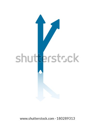 Arrow Deviating Right From Central Arrow Illustration - stock vector