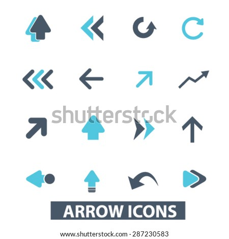 arrow, direction icons, signs, illustrations set, vector - stock vector