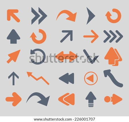 arrow, direction icons, signs, illustrations, vector, set - stock vector