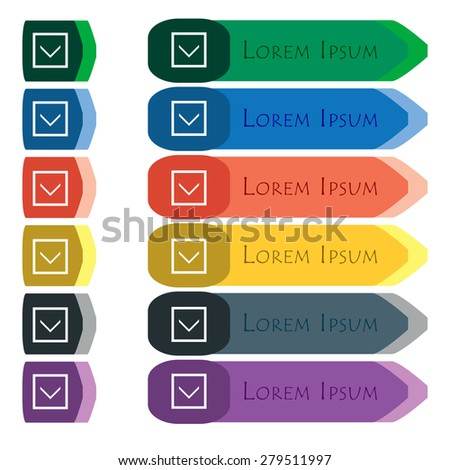Arrow down, Download, Load, Backup  icon sign. Set of colorful, bright long buttons with additional small modules. Flat design. Vector - stock vector