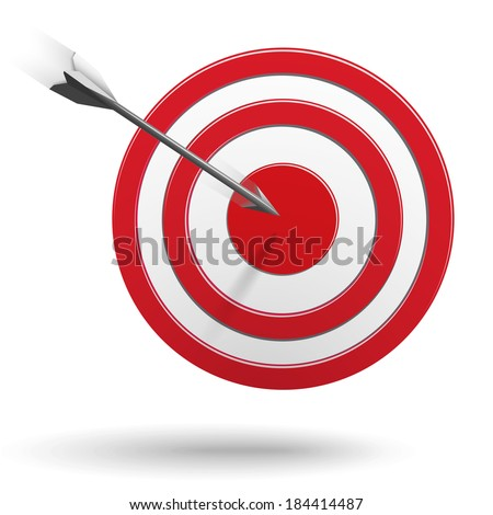 Arrow flying to the center of the target - success business concept - stock vector