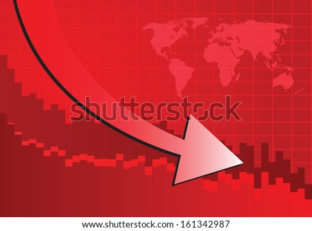 Arrow graph going down on red background (Vector illustration) - stock vector