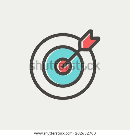 Arrow hit the target icon thin line for web and mobile, modern minimalistic flat design. Vector icon with dark grey outline and offset colour on light grey background. - stock vector