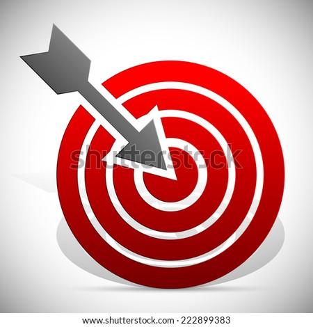 Arrow hitting target - stock vector
