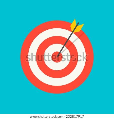 Arrow hitting target icon, vector illustration - stock vector