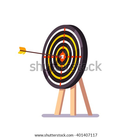 Arrow hitting target mark standing on a tripod. Flat style vector illustration. - stock vector