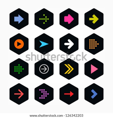 Arrow icon sign set. Color on black. Simple rounded hexagon internet button. Solid plain monochrome color flat tile. New minimal contemporary metro style. Vector illustration web design elements 8 eps - stock vector