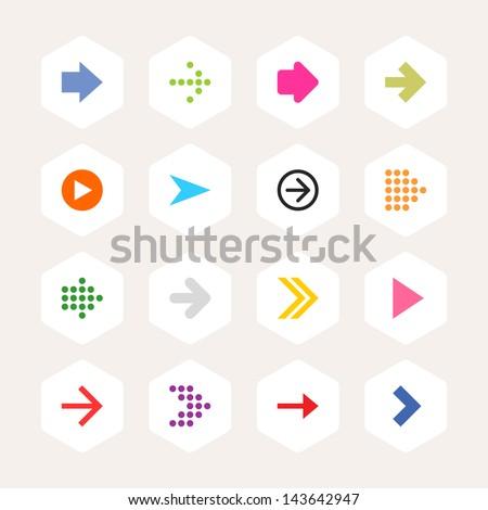Arrow icon sign set. Simple rounded hexagon internet button beige background. Solid plain monochrome color flat tile. Minimal contemporary metro style. Vector illustration web design elements 8 eps - stock vector