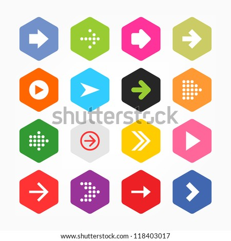 Arrow icon sign set. Simple rounded hexagon internet button gray background. Solid plain monochrome color flat tile. New minimal contemporary metro style. Vector illustration web design elements 8 eps - stock vector