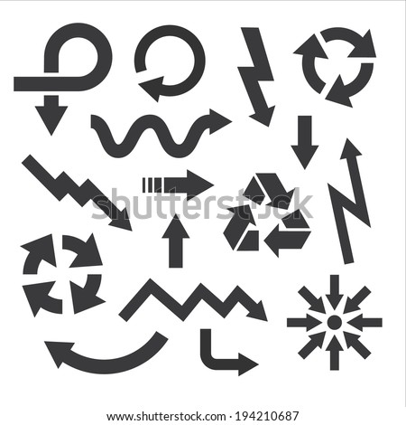 arrow icons set collections. black universal symbols isolated on white background. vector illustration  - stock vector