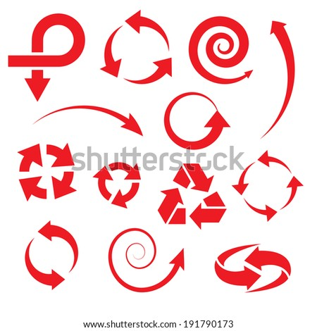 arrow icons set collections. red symbols isolated on white background. vector illustration  - stock vector