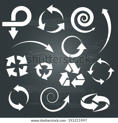 arrow icons set collections. white symbols isolated on chalkboard  background. vector illustration. - stock vector
