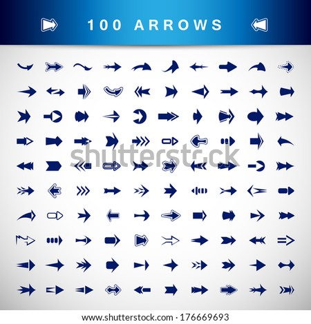 Arrow Icons Set - Isolated On Gray Background - Vector illustration Graphic Design Editable For Your Design. - stock vector