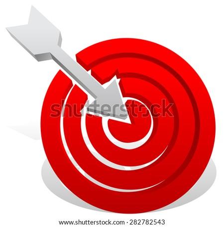 Arrow in red target. Precision, bullseye, accuracy, goals, success concept. Vector icon. - stock vector