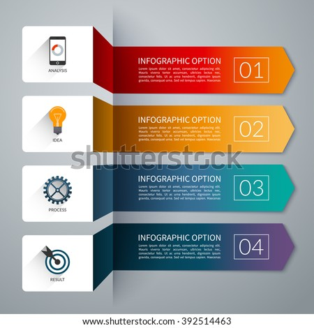 Arrow infographic template. Infographic options banner. Vector layout for business infographics with marketing icons and design elements. Abstract background with 4 steps, parts, stages, processes. - stock vector