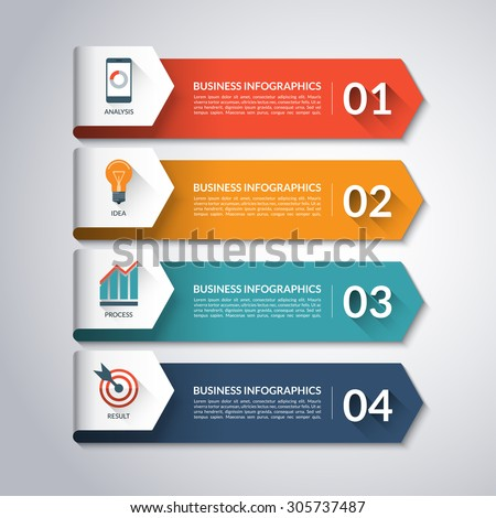 Arrow infographic template. Minimal colorful numbered banners for diagram, graph, presentation, chart, step options, web design . 4 steps, parts, options. Vector background - stock vector