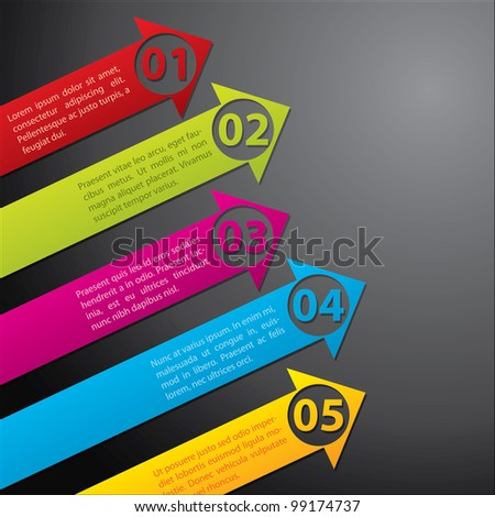 Arrow labels with numbers from one to five - stock vector