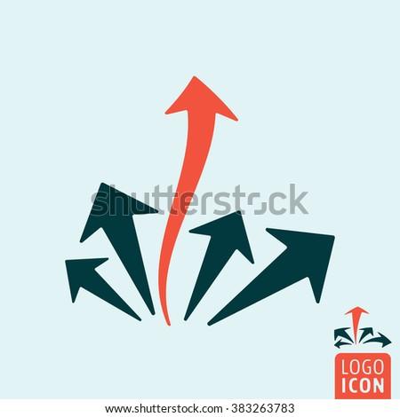 Arrow leader icon. Arrow leader logo. Arrow leader symbol. Arrow leadership icon isolated, minimal design. Vector illustration - stock vector
