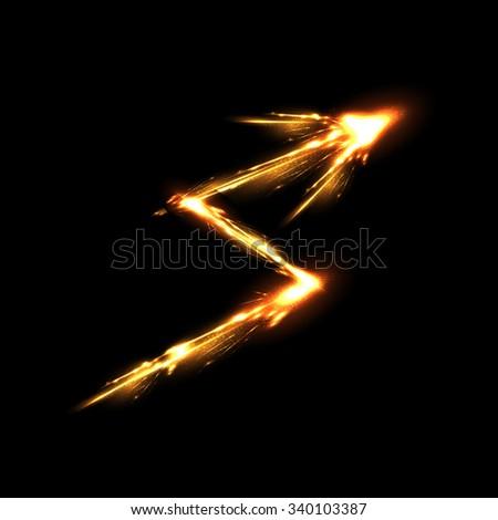 arrow light neon decorative effects - stock vector