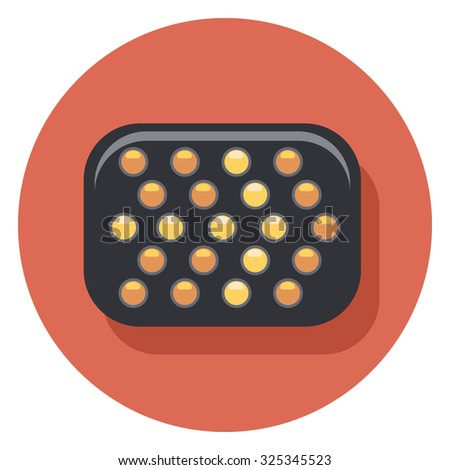 arrow lights flat icon in circle - stock vector