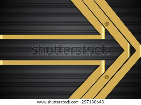 Arrow like background with stripes and ribbons - stock vector